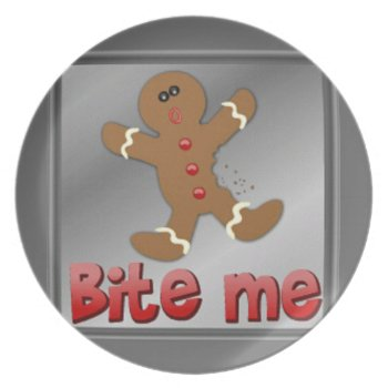 Plate Bite Me Gingerbread Man Christmas by creativeconceptss at Zazzle