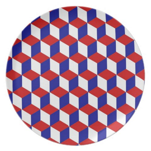 Plate - Block illusion in red, white, and blue
