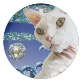 Plate | Blue sequin art | White Devon Rex Cat