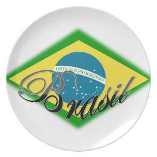 plate Brasil flag south america unique gift amor