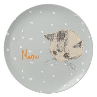 Plate Cat Meow Drawing Snow