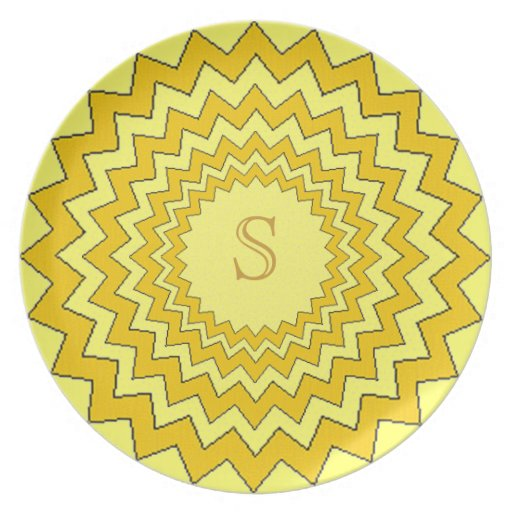 Plate - Concentric zig-zag with golden monogram