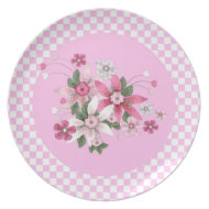 Plate Country Style Pink White Check Floral