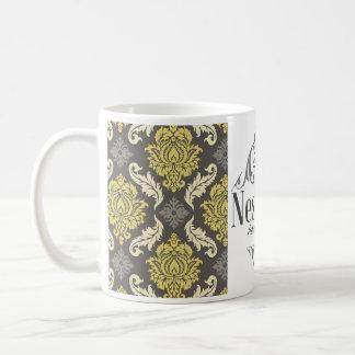 PLATE DAMASK LIME&GRAY PUNT COFFEE MUG