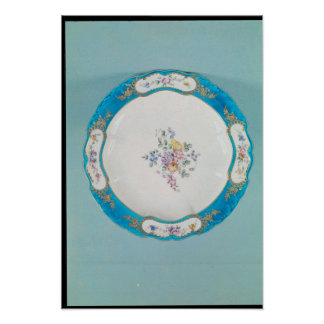 Plate decorated with a floral pattern, Sevres Poster