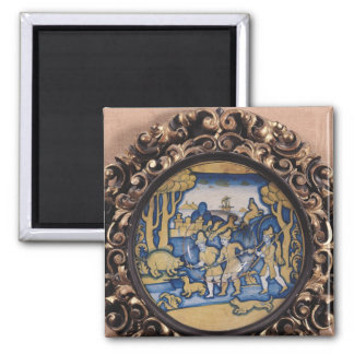Plate decorated with a hunting scene 2 inch square magnet