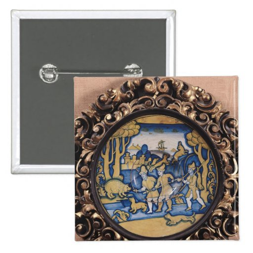 Plate decorated with a hunting scene 2 inch square button