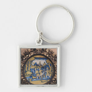 Plate decorated with a hunting scene keychain