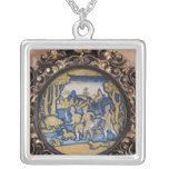 Plate decorated with a hunting scene square pendant necklace