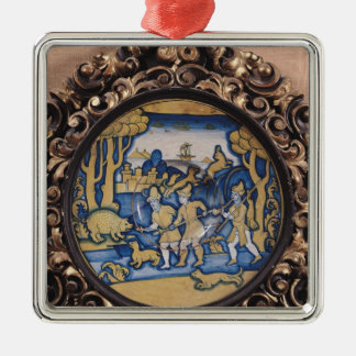 Plate decorated with a hunting scene christmas tree ornament