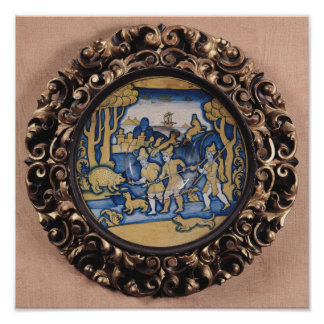 Plate decorated with a hunting scene poster