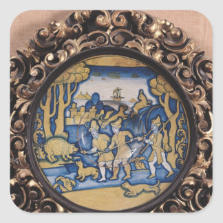 Plate decorated with a hunting scene square sticker