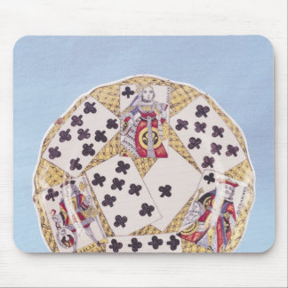 Plate decorated with a trompe l'oeil mouse pad