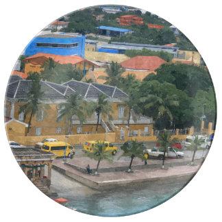 Plate decorative caribbean port porcelain plates