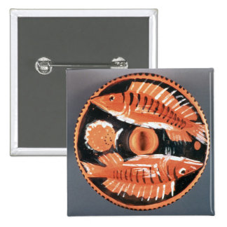 Plate depicting two fish, 350 BC (ceramic) 2 Inch Square Button