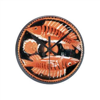 Plate depicting two fish, 350 BC (ceramic) Round Wallclock