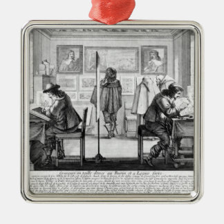 Plate engravers working with gallery metal ornament
