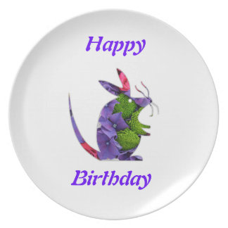 Plate  Flower Mouse  Happy Birthday