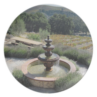 Plate: Fountain at Croad Vineyards, Paso Robles Dinner Plate