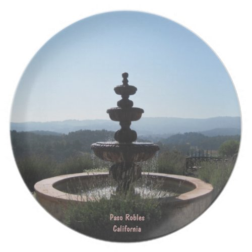 Plate: Fountain at Croad Vineyards, Paso Robles Melamine Plate