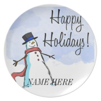 Plate Happy Holidays Christmas Personalize by creativeconceptss at Zazzle