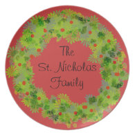 Plate - Holiday wreath with Family name