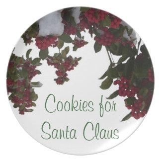 Plate - Holly & Berries in Snow - Santa's Cookies