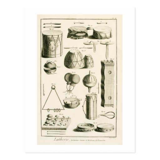 Plate II: Ancient and modern percussion instrument Postcards