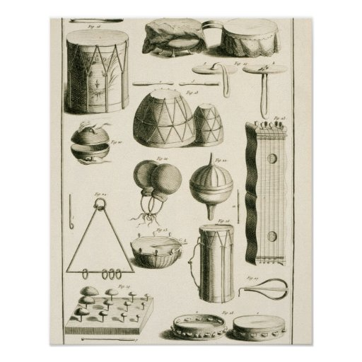 Plate II: Ancient and modern percussion instrument Poster