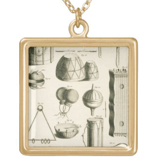 Plate II: Ancient and modern percussion instrument Square Pendant Necklace