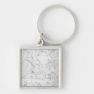 Plate IV, Illustrating Proposition X Silver-Colored Square Keychain