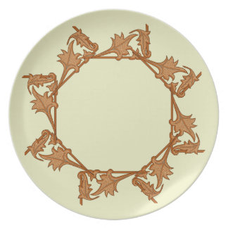 Plate - Leaves in Circle (octagon)