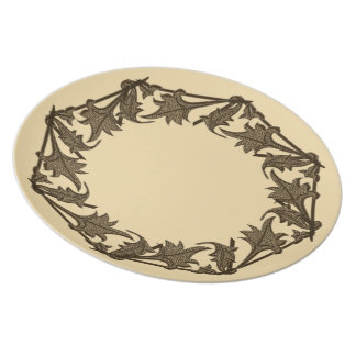 Plate - Leaves in Octagon (circle)