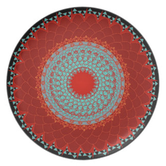 Plate - Mandala Red Turquoise Chrysanthemum