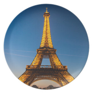 "Plate Melamine Tower Eiffel (25cm - 10"") #1"