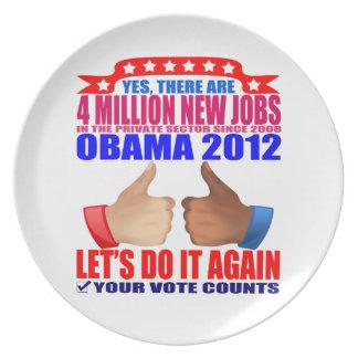 Plate: Obama 2012 - 4 Million Jobs Melamine Plate