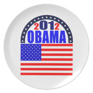 Plate: Obama 2012 - Flag/Arc Melamine Plate