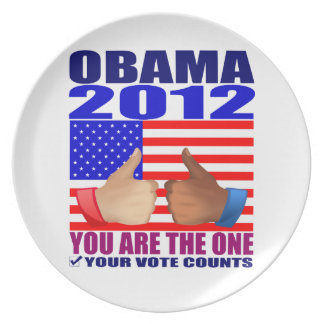 Plate: Obama 2012 - Flag/Thumbs/You Are The One Plate