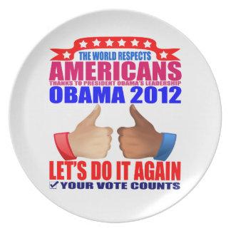 Plate: Obama 2012 - Respect Melamine Plate