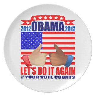 Plate: Obama 2012 - Thumbs Up - Ebony/Ivory Dinner Plate
