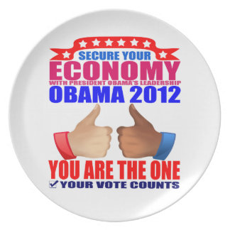 Plate: Obama 2012 - Thumbs Up - Secure Economy Melamine Plate
