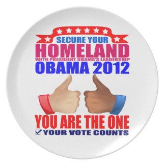 Plate: Obama 2012 - Thumbs Up - Secure Homeland Melamine Plate