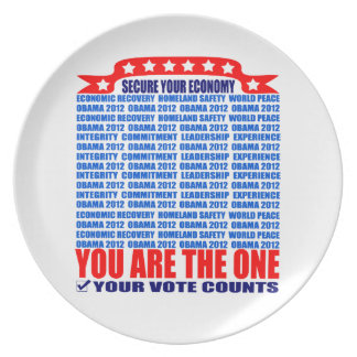 Plate: Obama 2012 - Wall / Secure Your Economy Dinner Plate