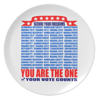 Plate: Obama 2012 - Wall / Secure Your Freedoms Melamine Plate