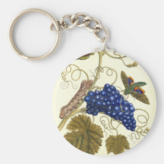 Plate of a moth (Eumorpha labruscae) that feeds Basic Round Button Keychain