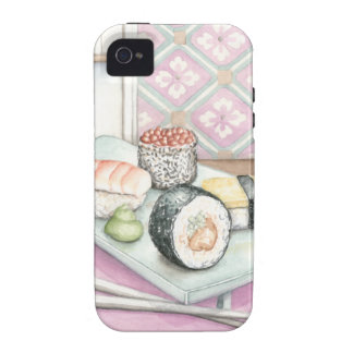 Plate of Assorted Sushi with Chopsticks iPhone 4 Cover