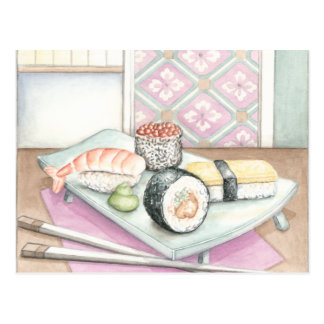 Plate of Assorted Sushi with Chopsticks Postcard