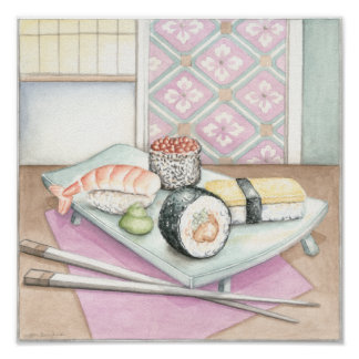 Plate of Assorted Sushi with Chopsticks Poster