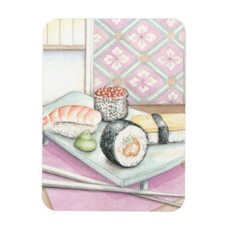 Plate of Assorted Sushi with Chopsticks Rectangular Photo Magnet