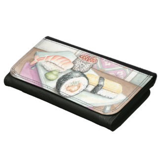 Plate of Assorted Sushi with Chopsticks Wallets